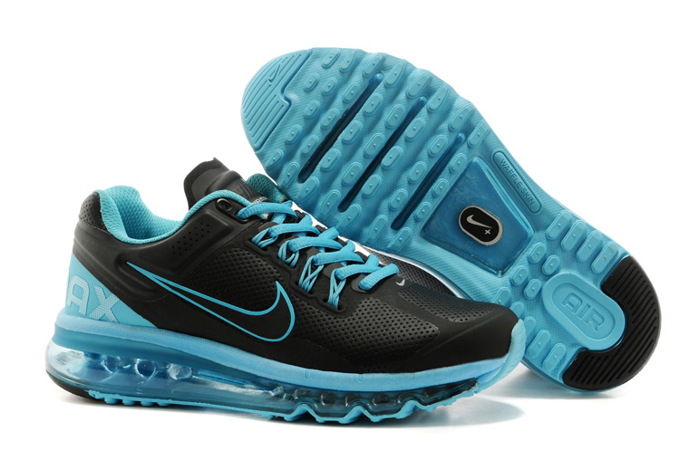 Nike Air Max 2013 Black Blue Running Shoes For Women