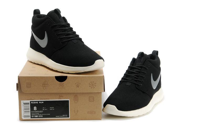 separation shoes e3ac3 22e6e Nike Roshe Run High Black White Shoes