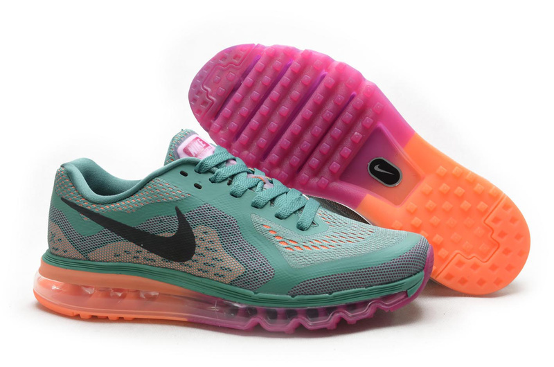 Nike Air Max 2014 Shoes Green Grey Pink Orange For Women