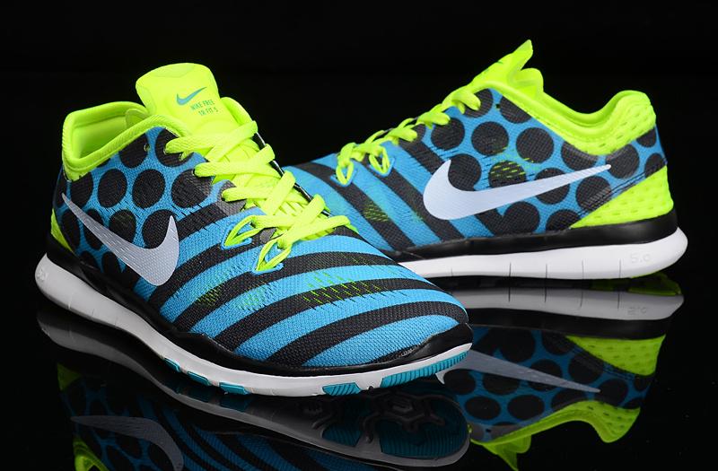2a83c8940d2 2015 Nike Fren 5.0 Knit Fluorscent Blue Black Dluorscent Green Training  Shoes For Women