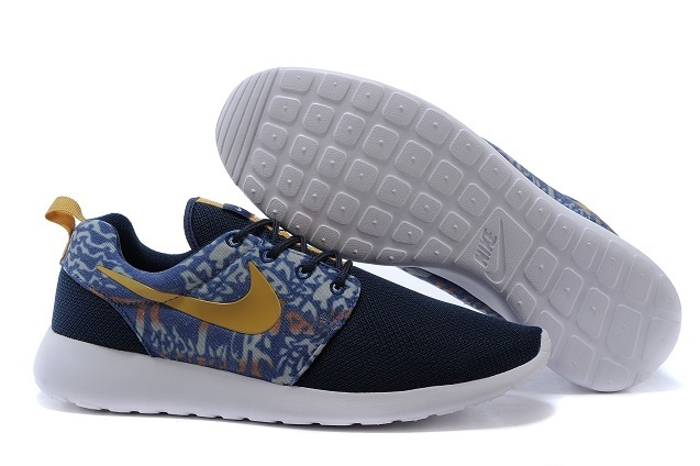 various colors 035aa 66fba 2015 Nike Roshe Run Deep Blue Gold Shoes
