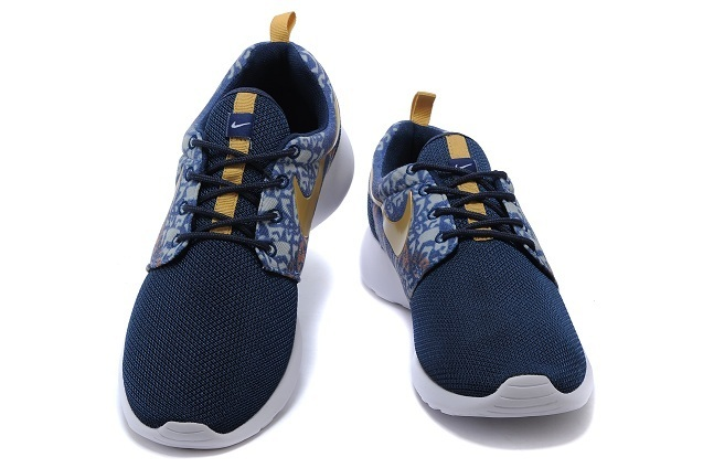 2015 Nike Roshe Run Deep Blue Gold Shoes