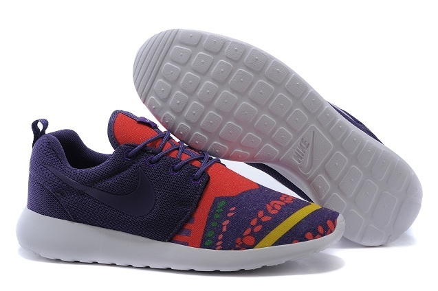 2015 Nike Roshe Run Deep Purple Red White Shoes