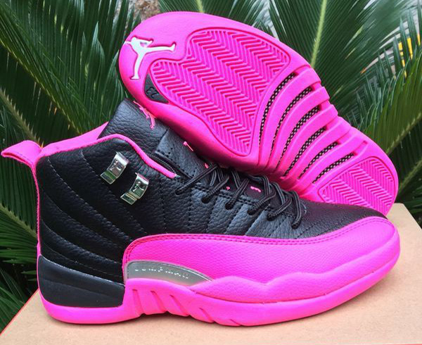 98d98f5d280b72 2016 Air Jordan 12 GS Black Pink For Sale