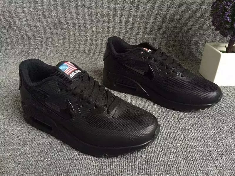 2016 Nike Air Max 90 Electroplating Swoosh All Black Shoes