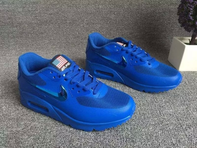 2016 Nike Air Max 90 Electroplating Swoosh All Blue Shoes
