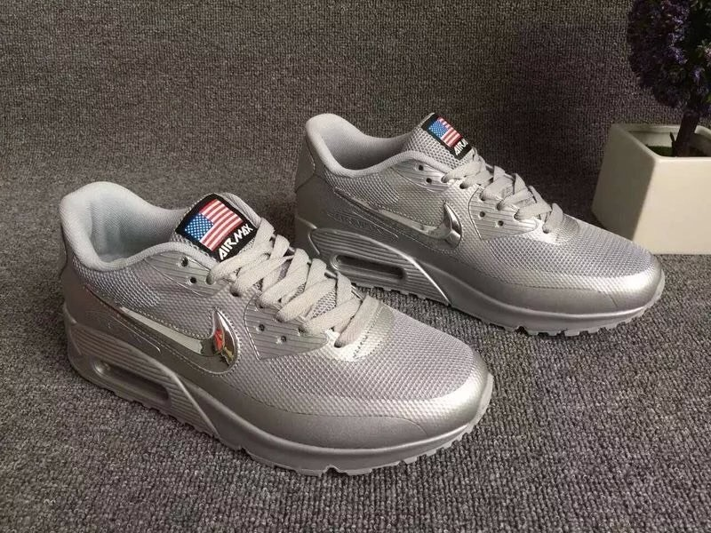 2016 Nike Air Max 90 Electroplating Swoosh All Grey Shoes