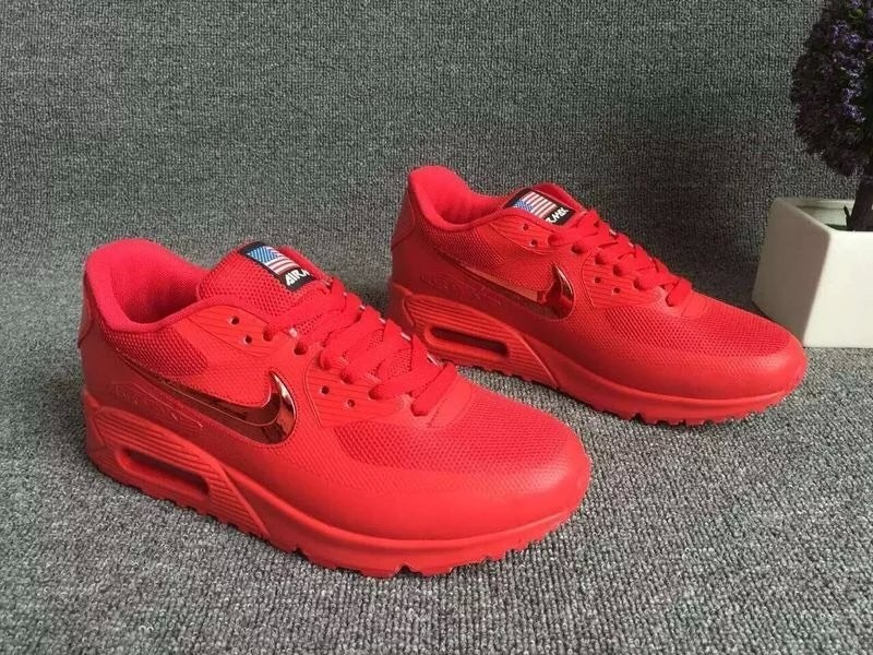 2016 Nike Air Max 90 Electroplating Swoosh All Red Shoes