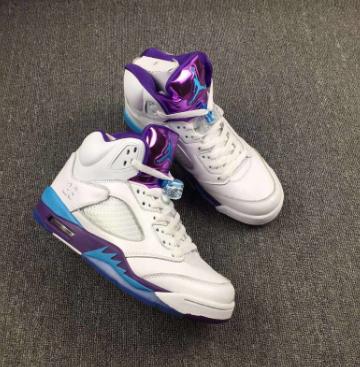 "4f7054ef2a815 2017 Air Jordan 5 GS ""Hornets"" White Blue Purple Shoes"
