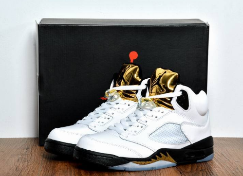 "2017 Air Jordan 5 GS ""Olympic Gold Medal"" White Black-Metallic Gold Coin Shoes"