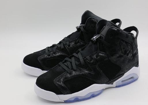 """sale retailer 58bc7 0d55e 2017 Air Jordan 6 GS """"Heiress"""" Black White Suede Shoes"""