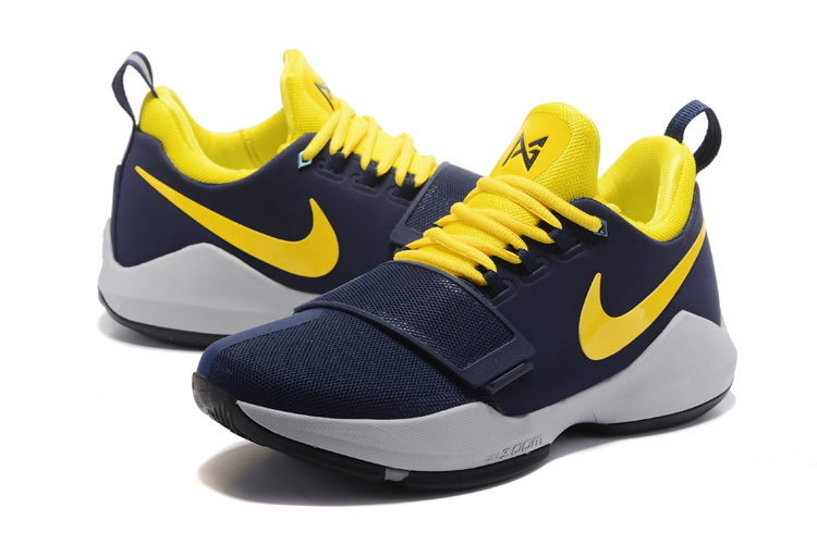 2017 Men Nike Air Zoom PG 1 Deep Blue Yellow Shoes