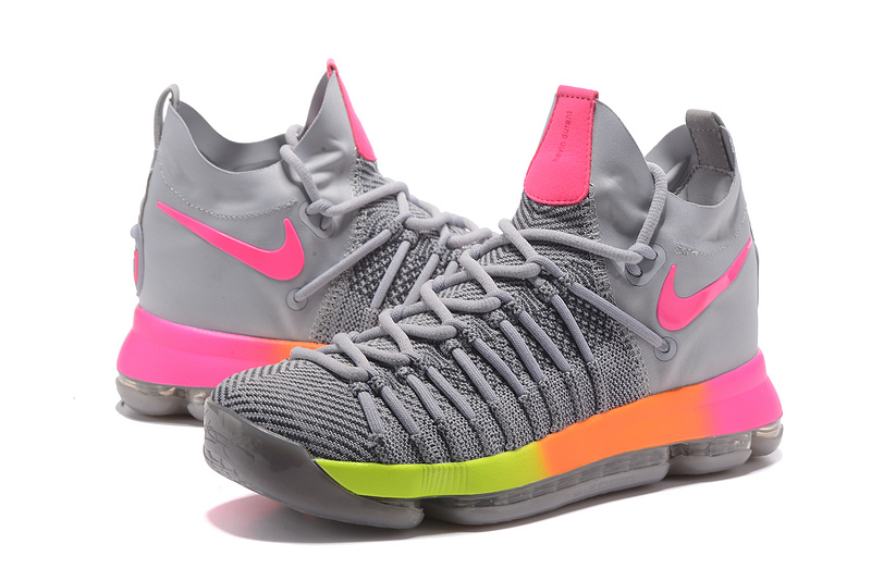 2017 Men Nike Kevin Durant 9 Grey Pink Fluorscent Shoes