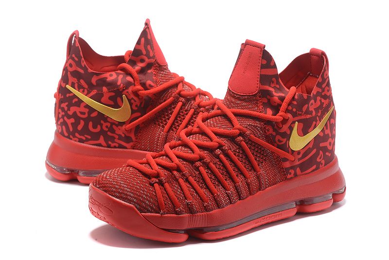 2017 Men Nike Kevin Durant 9 Red Gold Shoes