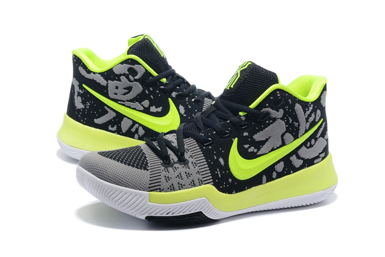 2017 Men Nike Kyrie 3 Knit Black Green Grey Shoes