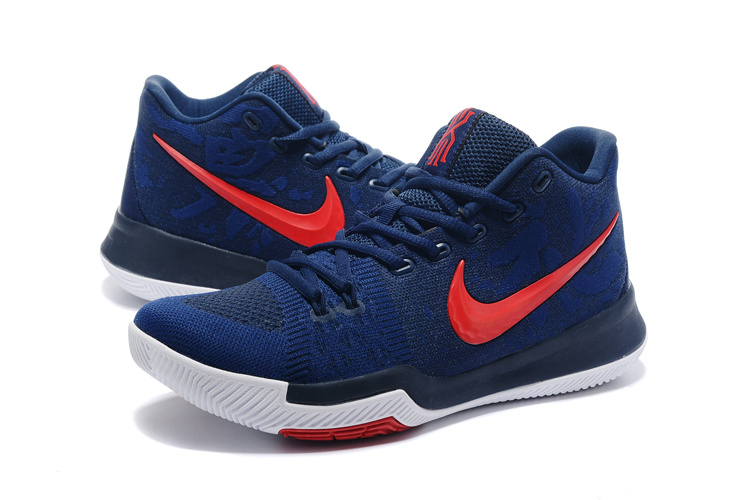 2017 Men Nike Kyrie 3 Knit Deep Blue Red Shoes