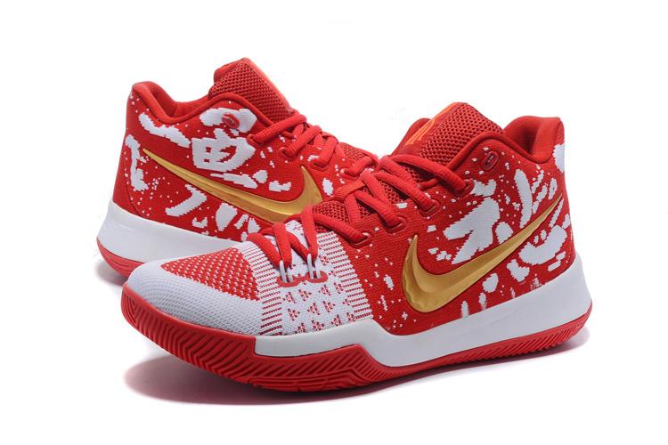 2017 Men Nike Kyrie 3 Knit Red White Gold Shoes