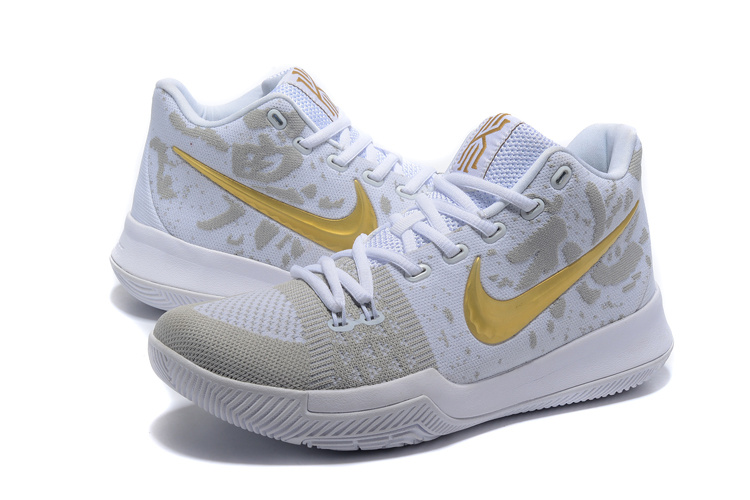 2017 Men Nike Kyrie 3 Knit White Gold Shoes