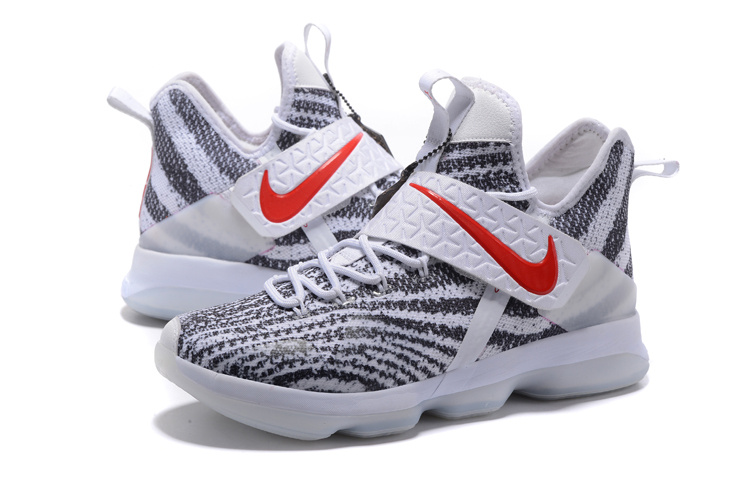 2017 Men Nike Lebron 14 Zebra White Red Shoes