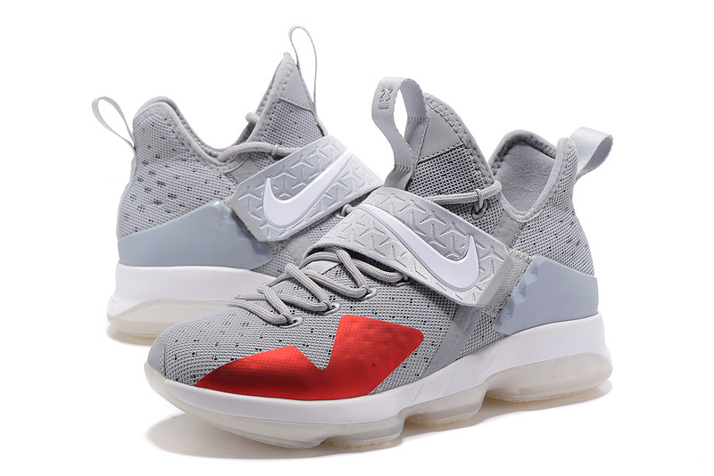 2017 Men Nike Lebron James 14 Grey Red White Shoes