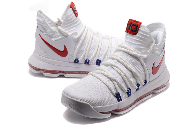 2017 Nike Kevin Durant 10 White Red Shoes