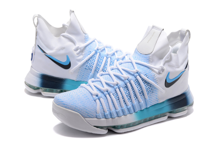 2017 Nike Kevin Durant 9 Playoffs White Light Blue Shoes