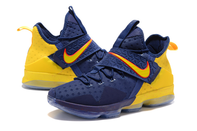 2017 Nike Lebron James 14 Blue Yellow Shoes