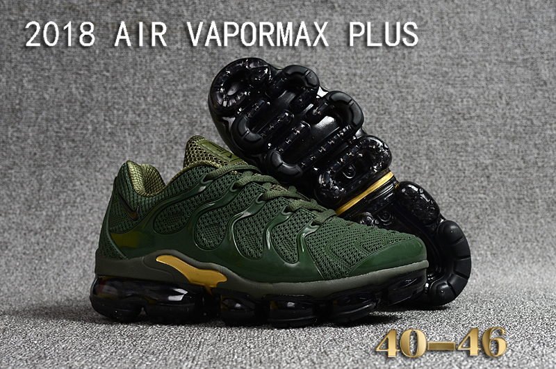 2018 Nike Air VaporMax Plus Army Green Gold Shoes