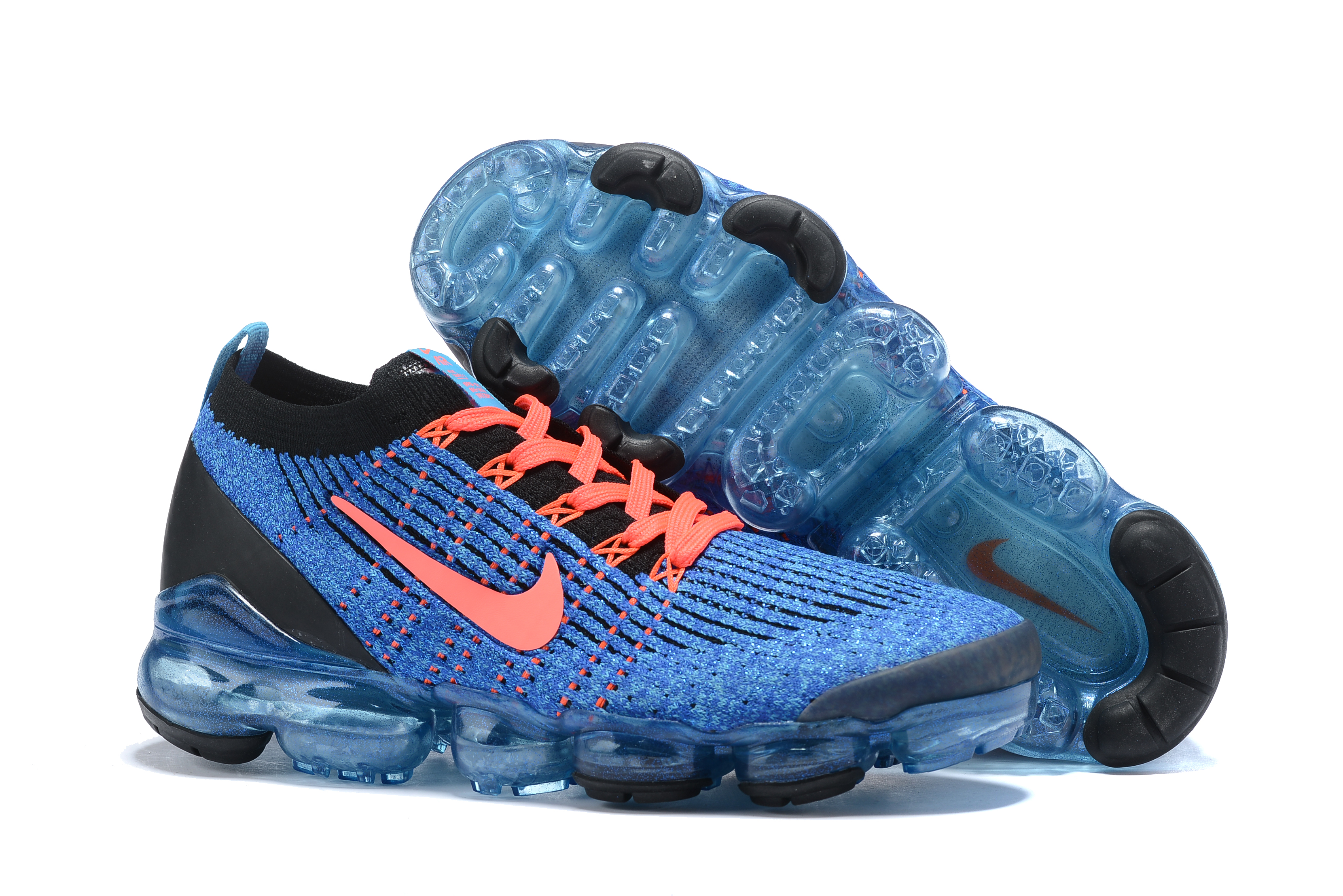 2019 Women Nike Air VaporMax Flyknit 3.0 Blue Orange Black Shoes