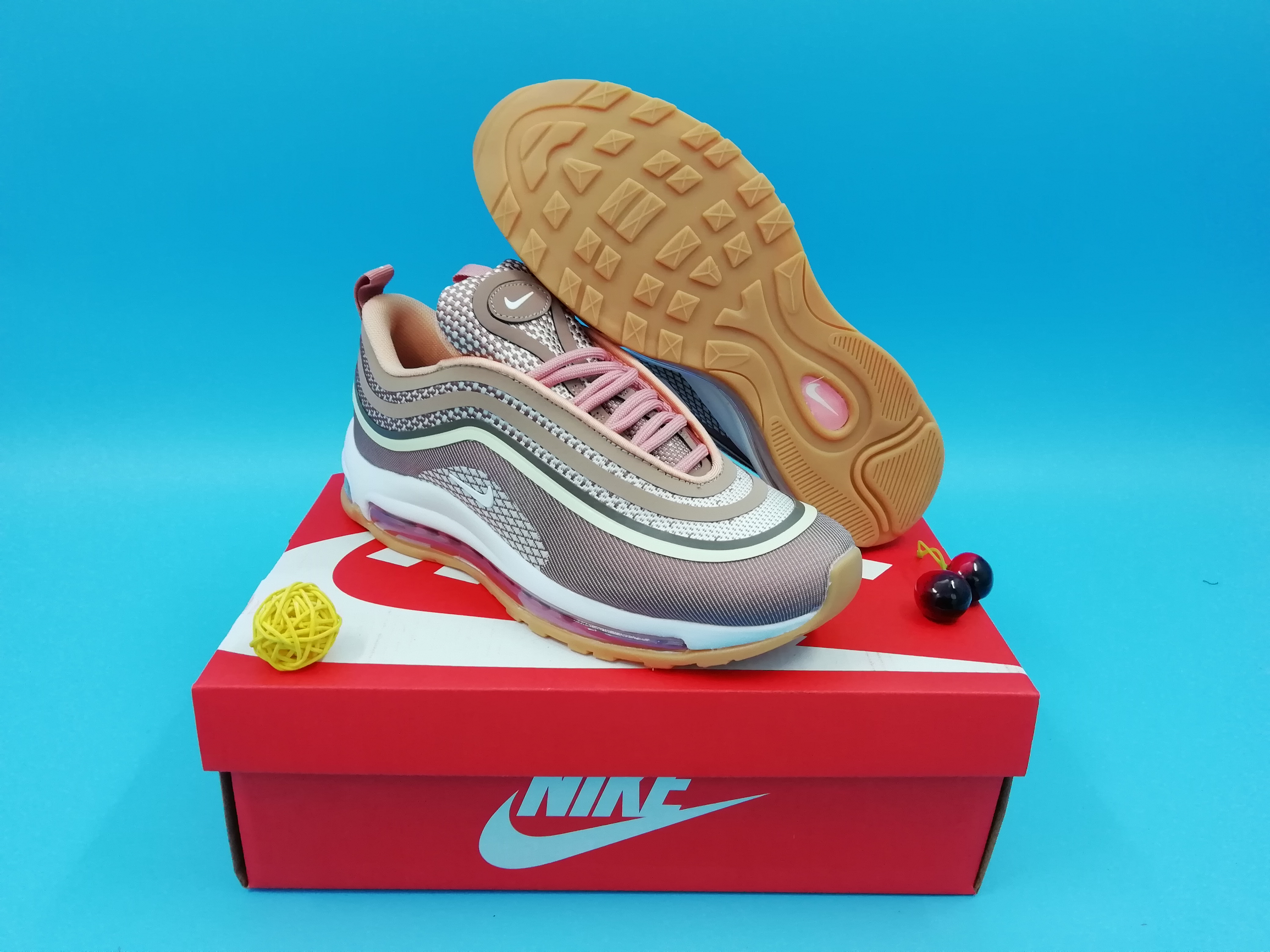 2019 Women Nike Air Max 97 Brown White Pink Shoes