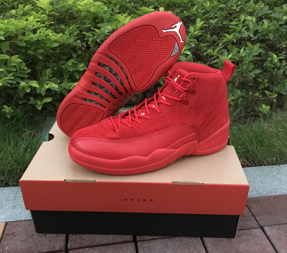Air Jordan 12 Premium Red Suede Christmas Red Shoes
