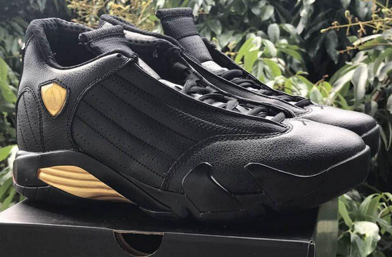 Air Jordan 14 DMP Black Metallic Gold Varsity Red Shoes