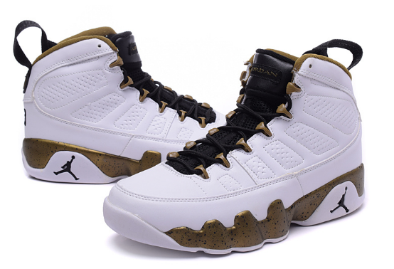 "Air Jordan 9 ""Copper Statue"" White Black-Militia Green Shoes"
