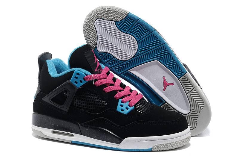 Air Jordan 4 GS Black Dynamic Blue White Vivid Pink
