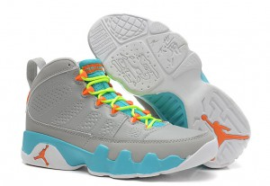 Air Jordan 9 Retro GS Wolf Grey Neon Orange Mint Candy
