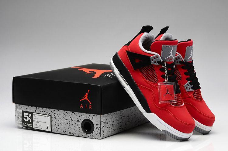 low priced 0d2d0 282a2 Air Jordan IV Womens Fire Red White Black Cement Grey