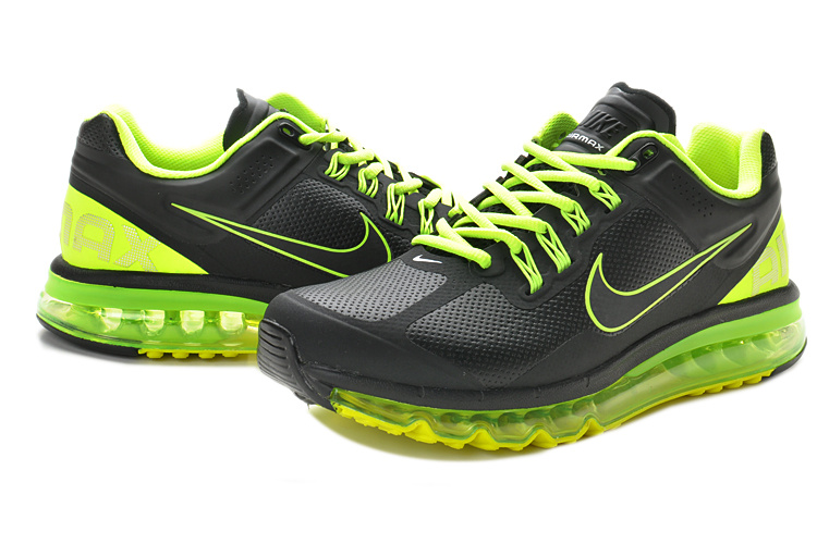 Nike Air Max 2013 Leather Black Fluorscent Green Shoes