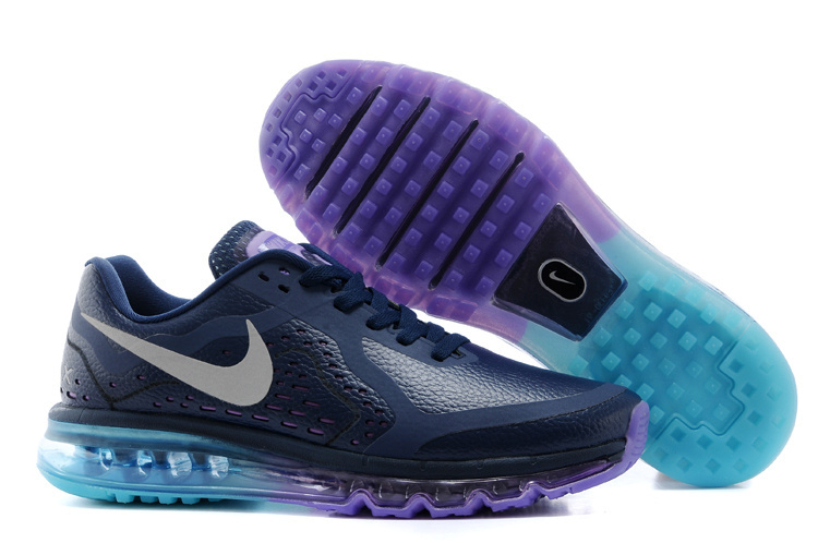 Nike Air Max 2014 Leather Black Purple Blue Shoes