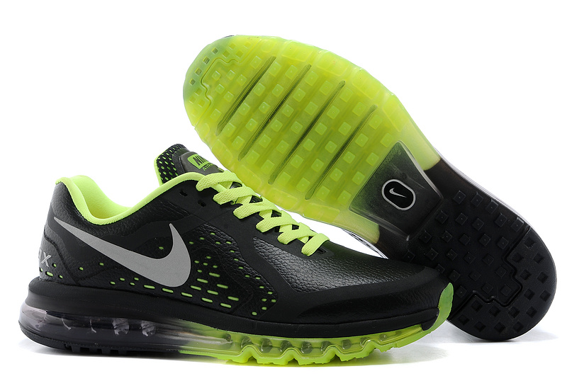 Nike Air Max 2014 Leather Black Fluorscent Green Shoes
