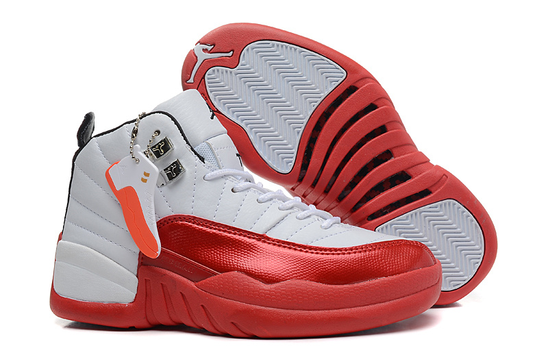 Girls Air Jordan 12 GS White Red For Womens Onlline For Sale