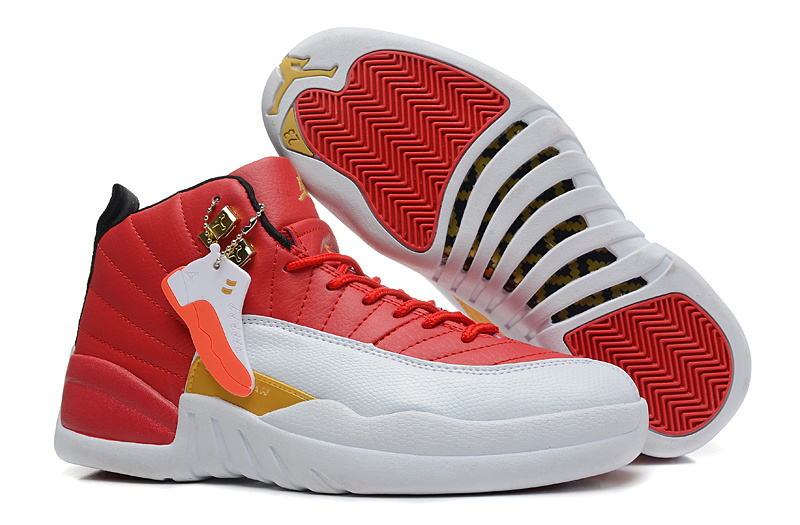 Girls Air Jordan 12 GS White Red Gold For Womens Cheap For Sale