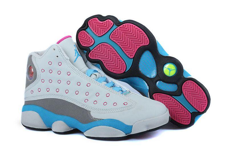 Girls Air Jordan 13 White Pink