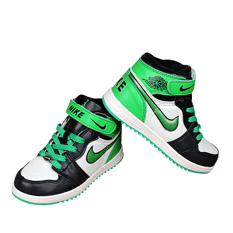 Nike Air Force High Black Green White Shoes For Kid