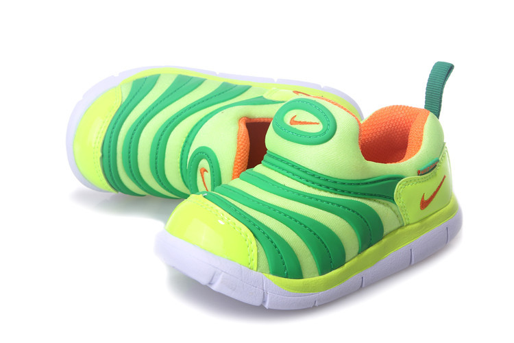 Kids Nike Dynamo Free Fluorscent Green Orange White Shoes