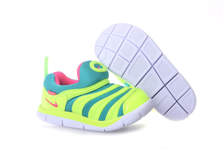 Kids Nike Dynamo Free Fluorscent Green Red White Shoes