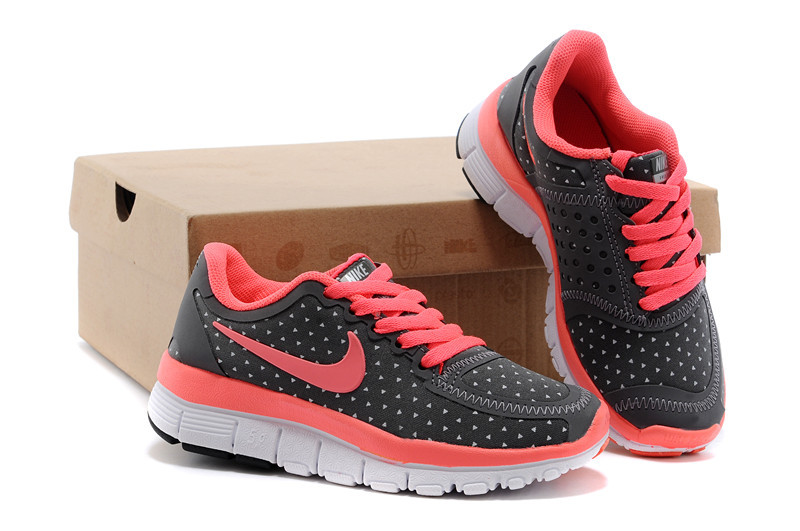 Kids Nike Free 5.0 Black Red White Sport Shoes