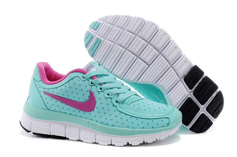 Kids Nike Free 5.0 Green Pink White Sport Shoes