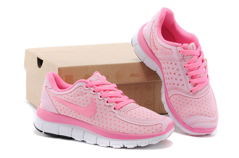 95af35146c77 Kids Nike Free 5.0 Pink White Sport Shoes
