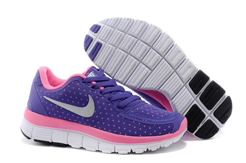 Kids Nike Free 50 Purple Pink White Sport Shoes