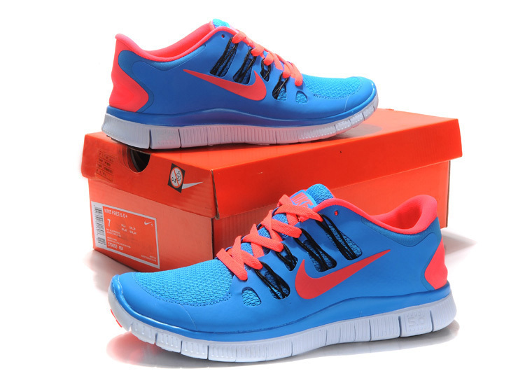 New Nike Free 5.0 Blue Pink Running Shoes